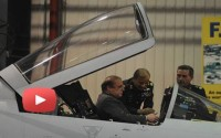 Prime Minister Nawaz Sharif sits in the cockpit of 50th JF 17 Thunder aircraft