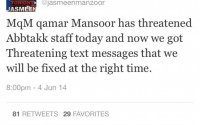 Jasmeen Manzoor threatened by MQM