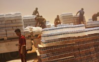 IDP's distribution of water in Khazair displacement camp, Iraq