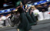Members of Saudi Arabia's contingent take part in the athletes parade during the opening ceremony of the London 2012 Olympic Games